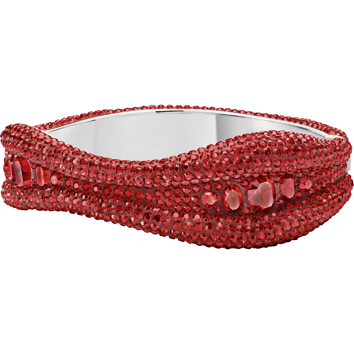 Swarovski Tigris Bangle, Red, Palladium plated
