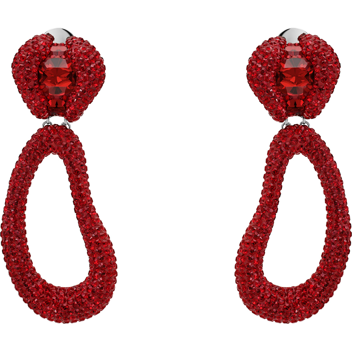 Swarovski Tigris Drop Clip Earrings, Red, Palladium plated