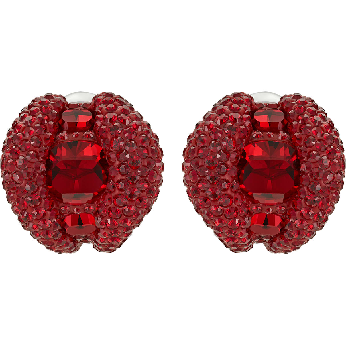 Swarovski Tigris Stud Clip Earrings, Red, Palladium plated