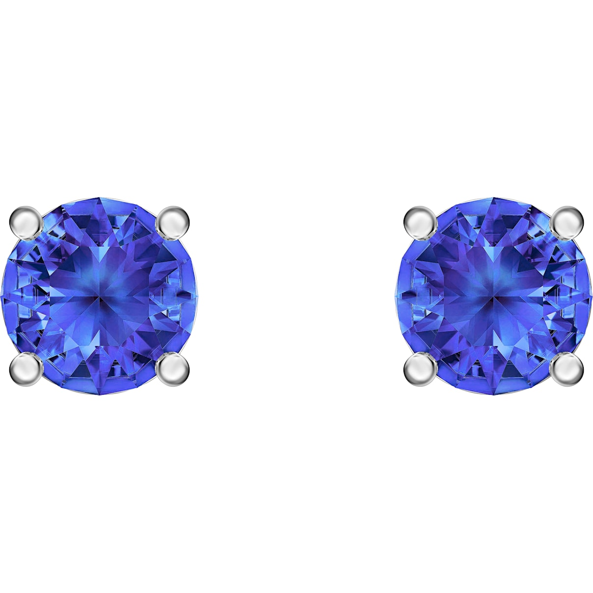 Swarovski Attract Stud Pierced Earrings, Blue, Rhodium plated