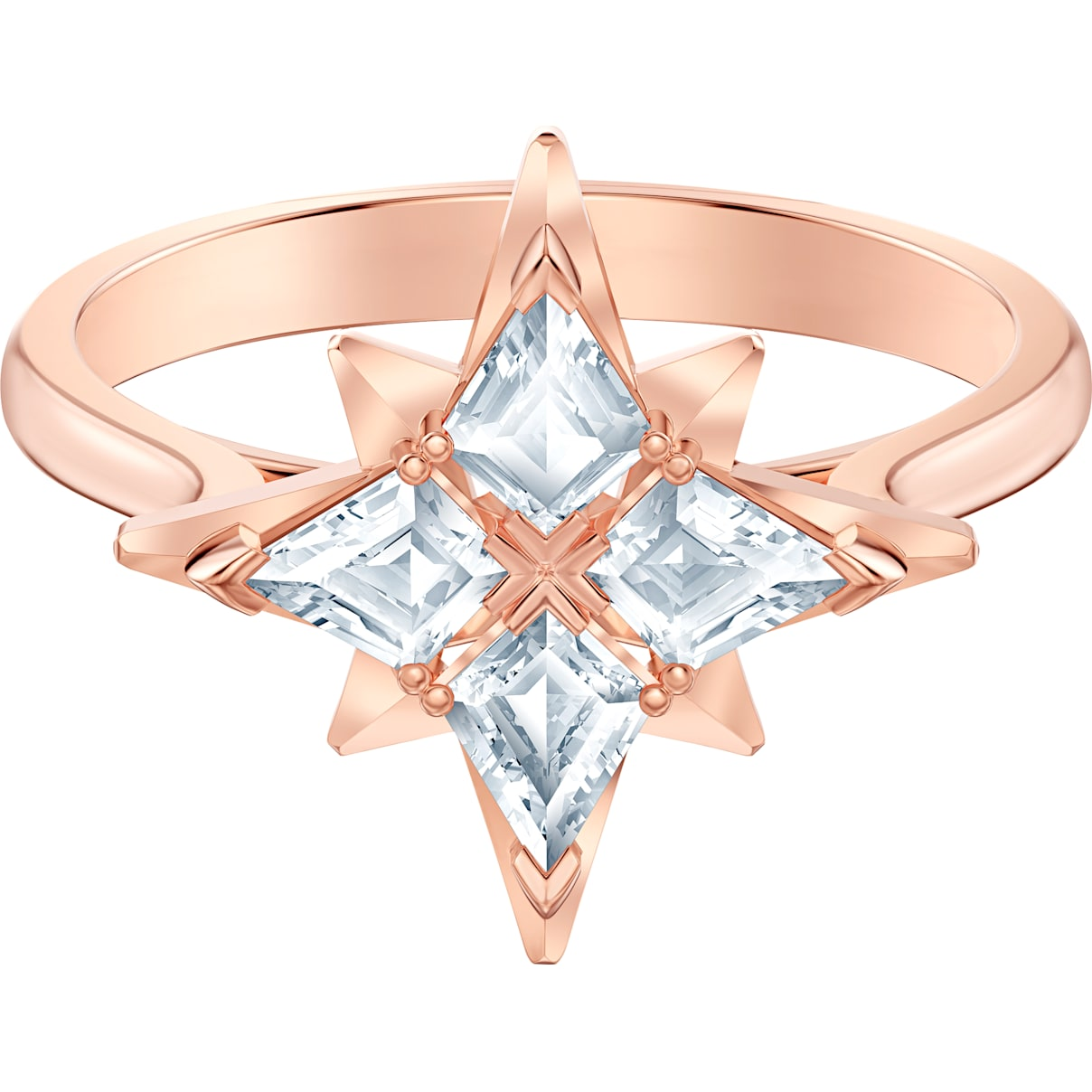 Swarovski Swarovski Symbolic Star Motif Ring, White, Rose-gold tone plated