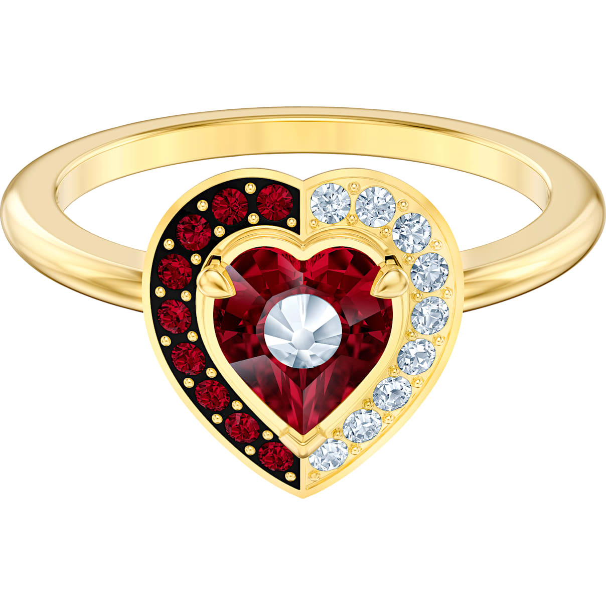 Swarovski Black Baroque Motif Ring, Red, Gold-tone plated