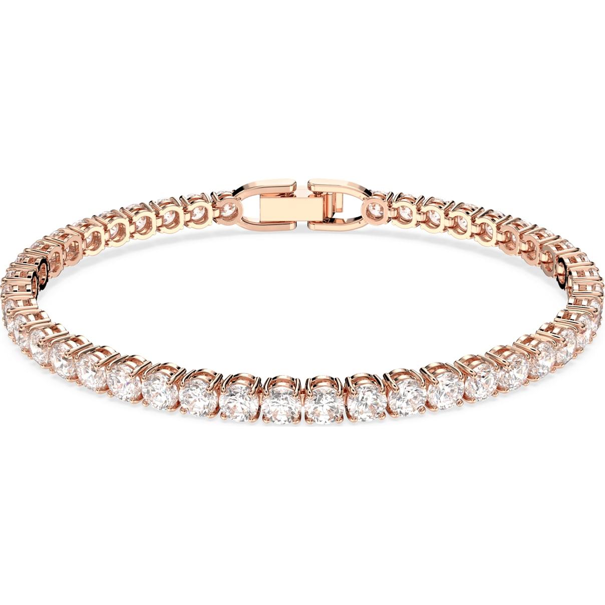 Swarovski Tennis Deluxe Bracelet, White, Rose-gold tone plated