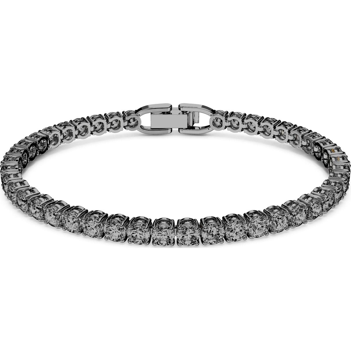 Swarovski Tennis Deluxe Bracelet, Gray, Ruthenium plated