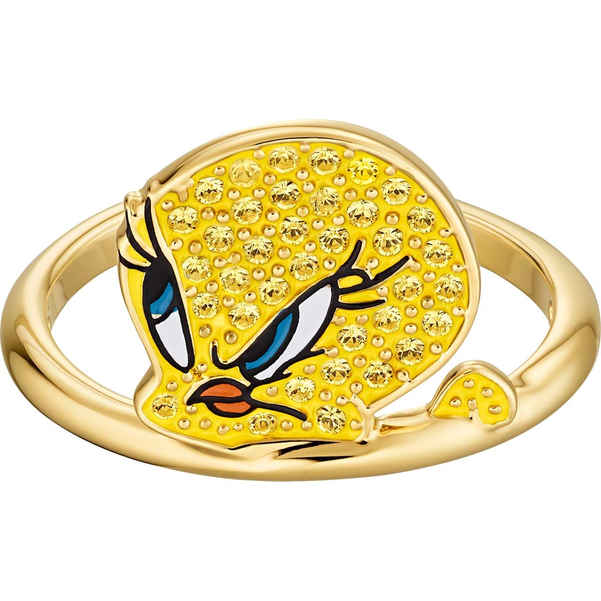 Swarovski Looney Tunes Tweety Motif Ring, Yellow, Gold-tone plated