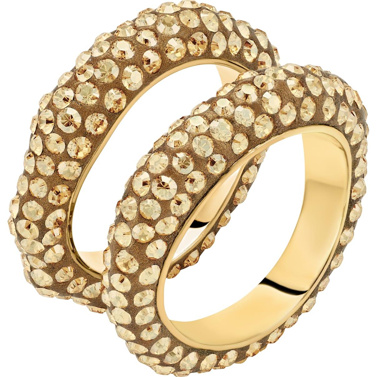 Swarovski Tigris Stacking Ring, Brown, Gold-tone plated