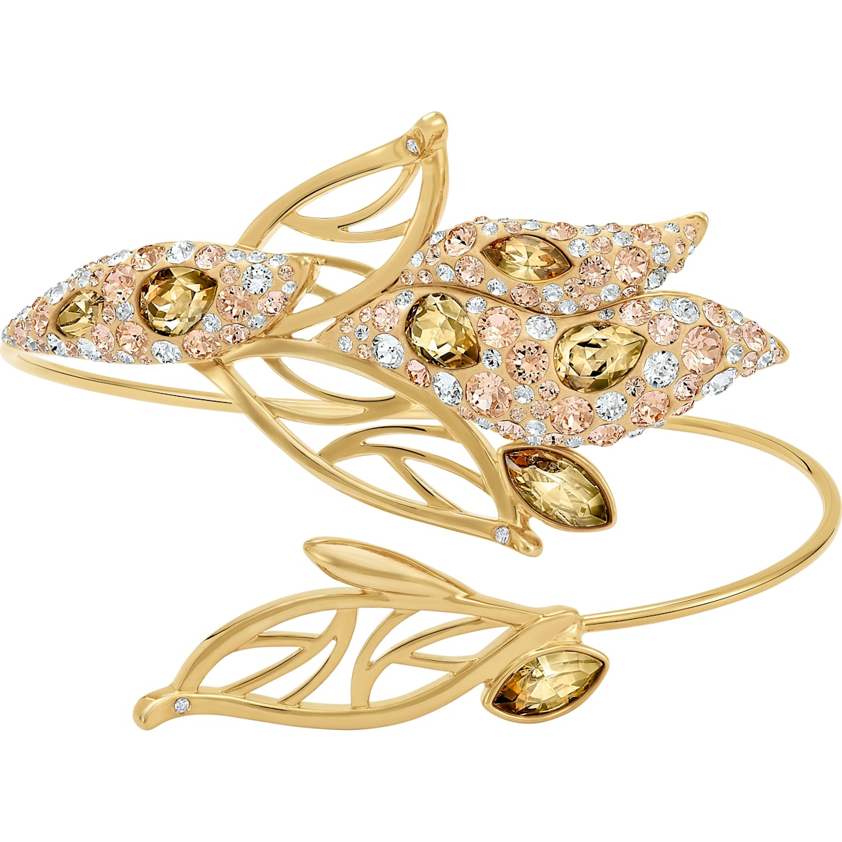 Swarovski Graceful Bloom Cuff, Brown, Gold-tone plated