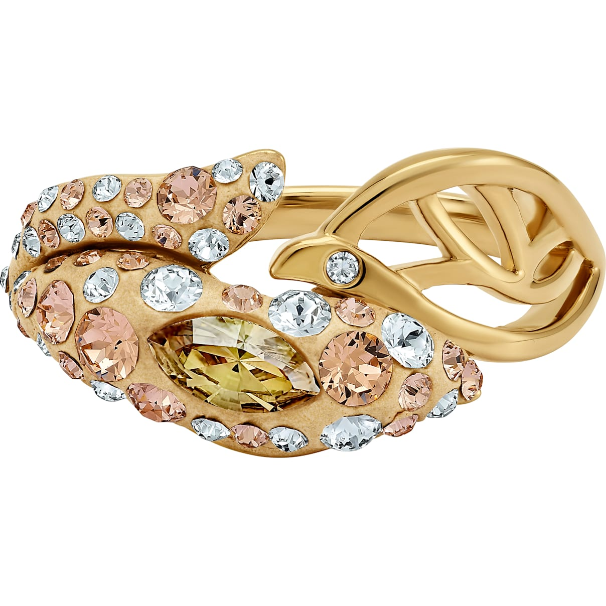 Swarovski Graceful Bloom Ring, Brown, Gold-tone plated