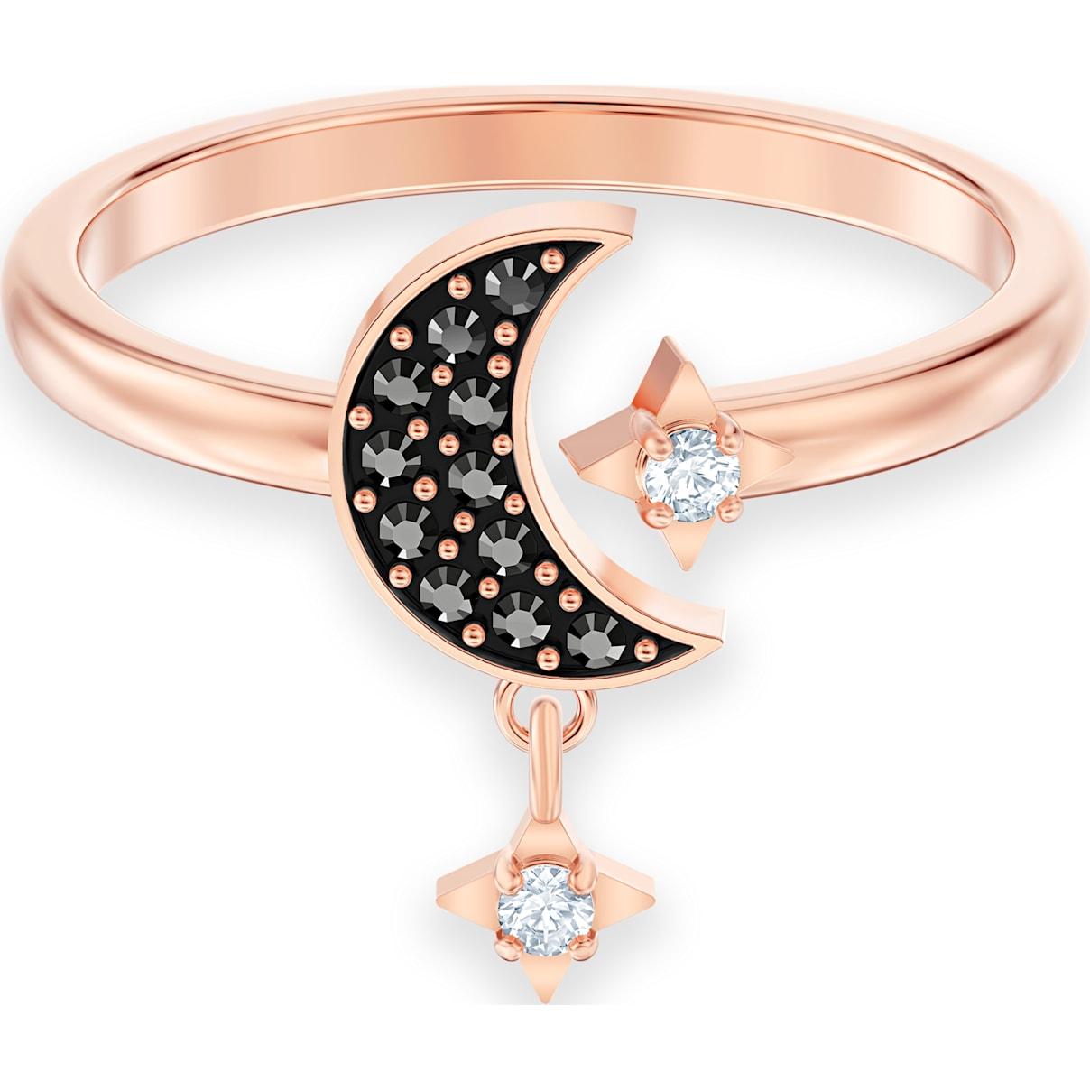 Swarovski Swarovski Symbolic Moon Motif Ring, Black, Rose-gold tone plated