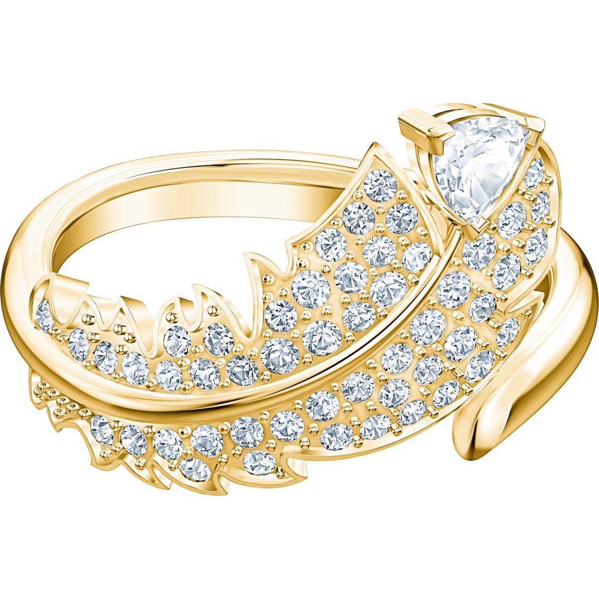 Swarovski Nice Motif Ring, White, Gold-tone plated