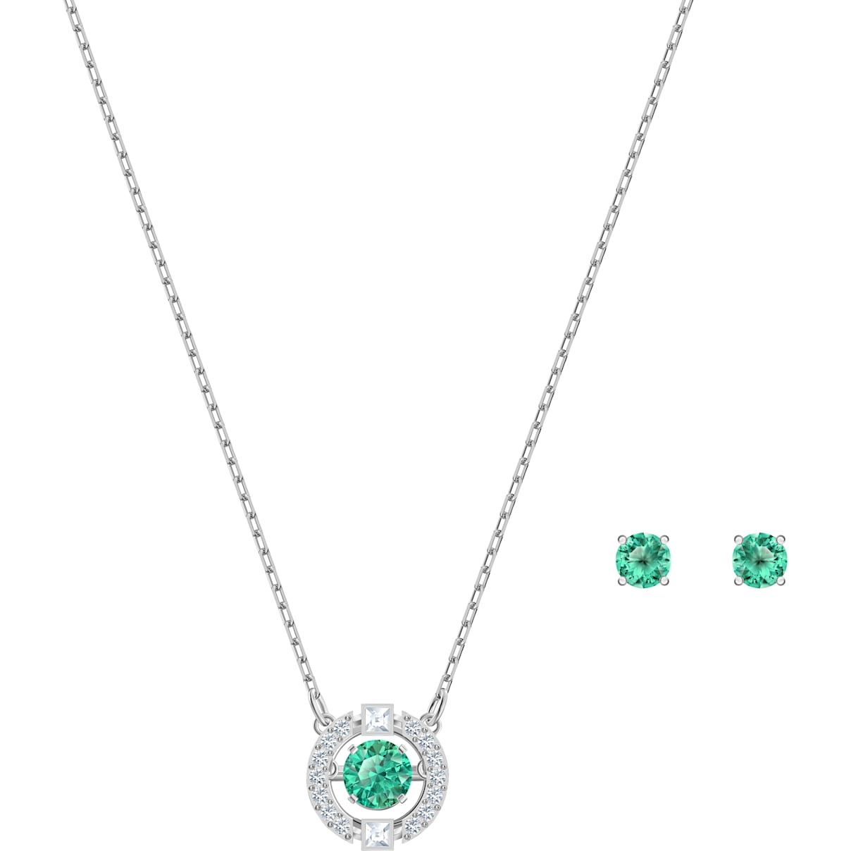 Swarovski Swarovski Sparkling Dance Set, Green, Rhodium plated