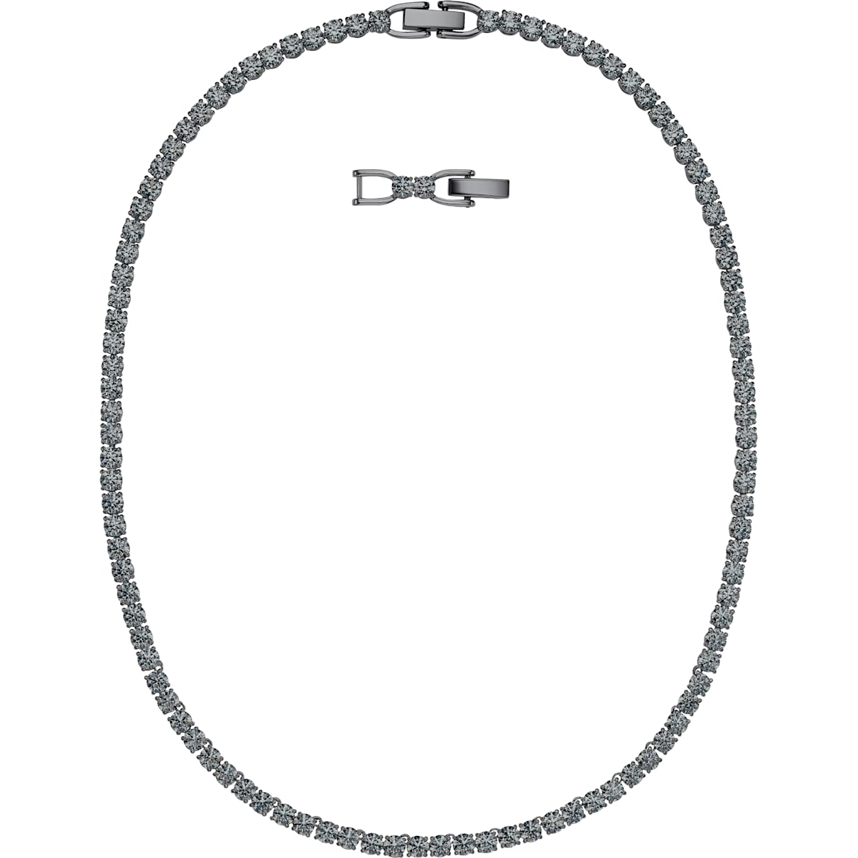 Swarovski Tennis Deluxe Necklace, Black, Ruthenium plated