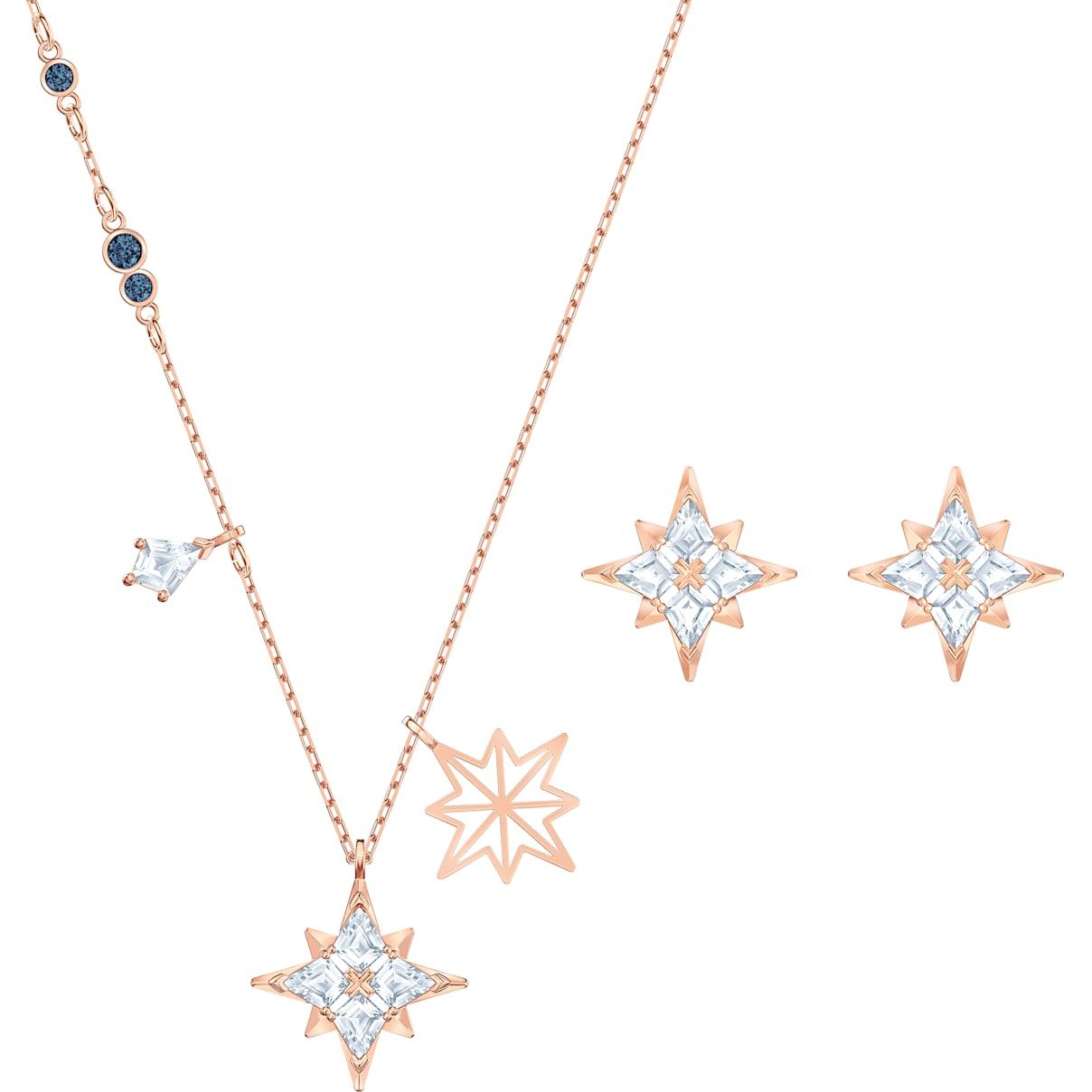 Swarovski Swarovski Symbolic Star Set, White, Rose-gold tone plated