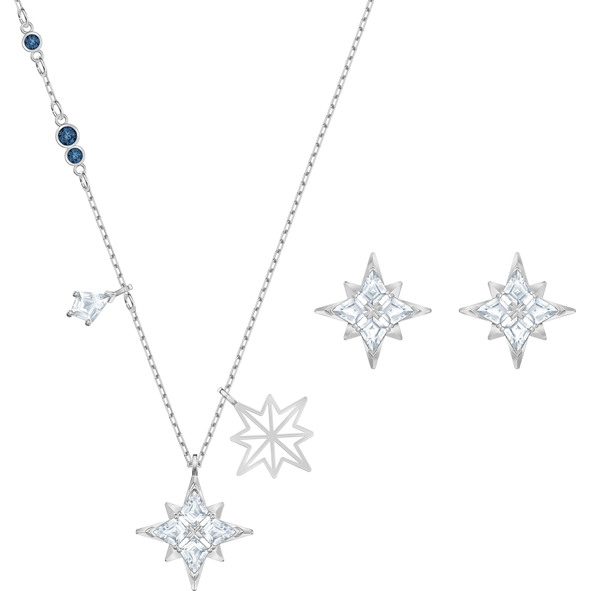 Swarovski Swarovski Symbolic Star Set, White, Rhodium plated