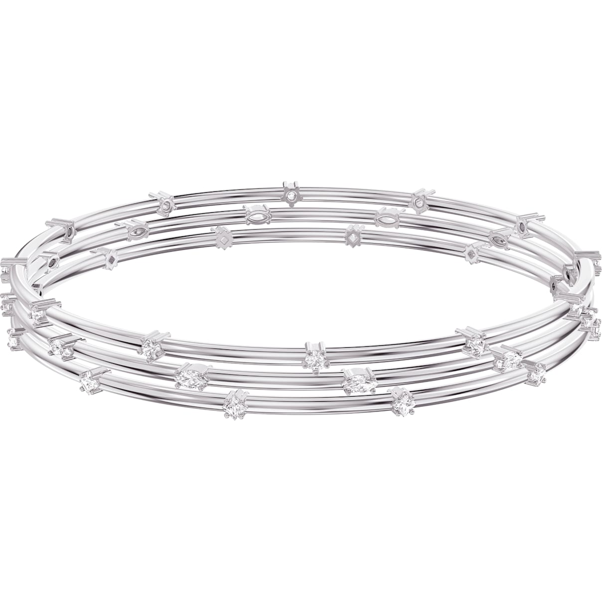 Swarovski Penélope Cruz Moonsun Cluster Bangle, White, Rhodium plated