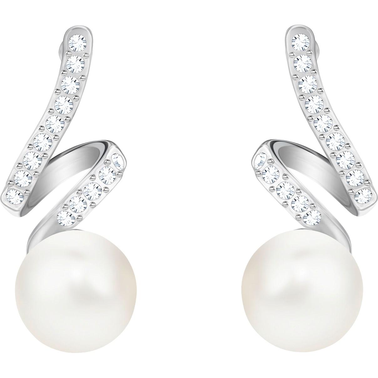 Swarovski Gabriella Pearl Pierced Earrings, White, Rhodium plated