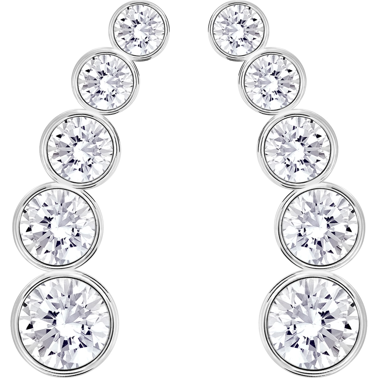 Swarovski Harley Pierced Earrings, White, Rhodium plated