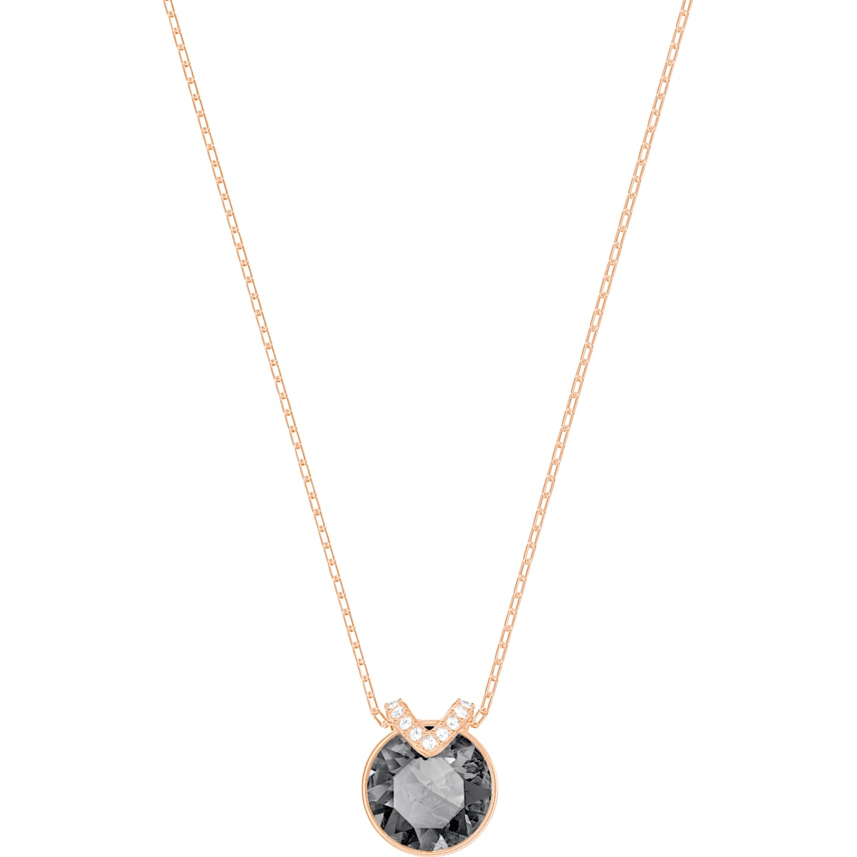 Swarovski Bella V Pendant, Black, Rose-gold tone plated
