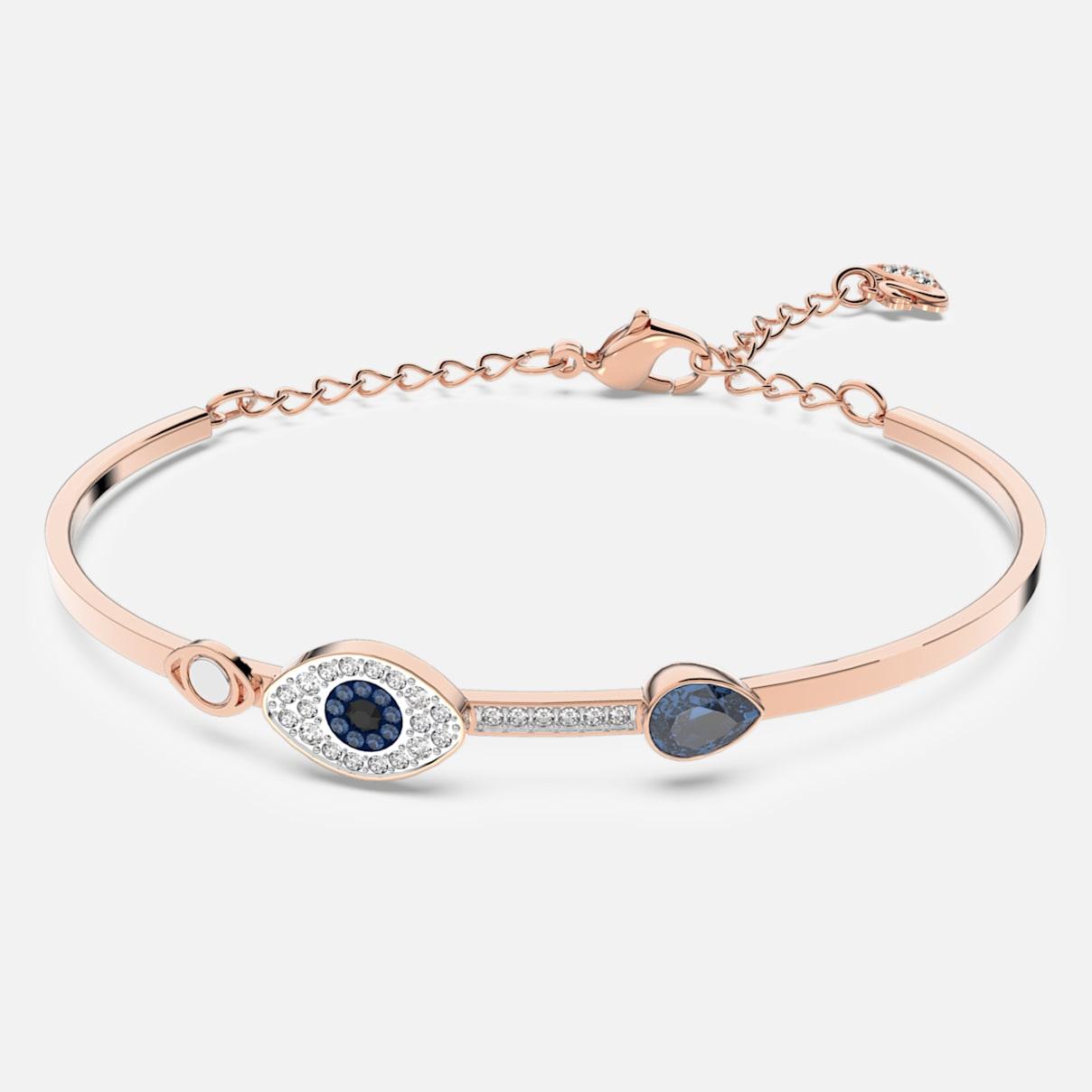 Swarovski Symbolic Evil Eye Armreif, blau, Metallmix