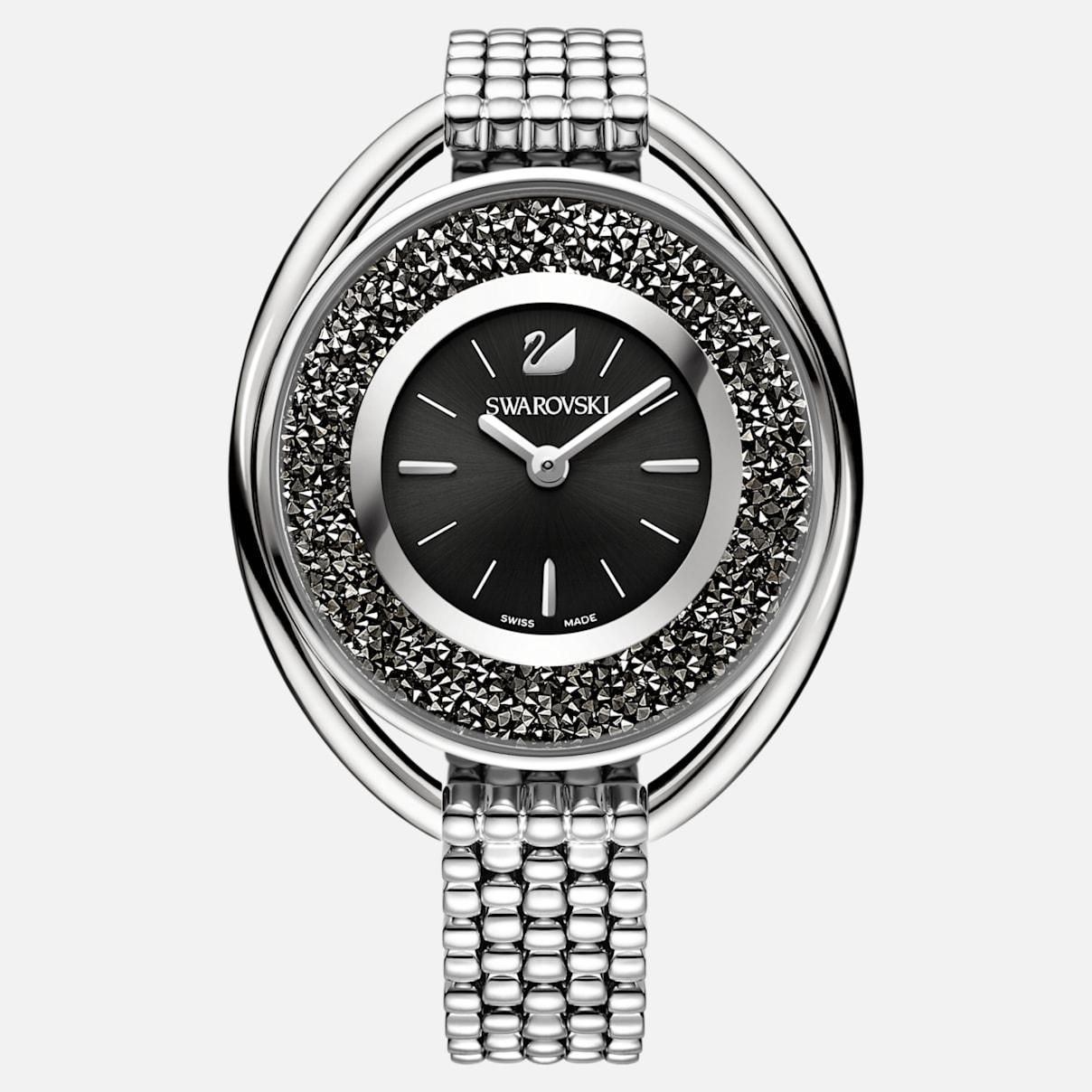 Crystalline Oval Uhr, Metallarmband, schwarz, silberfarben