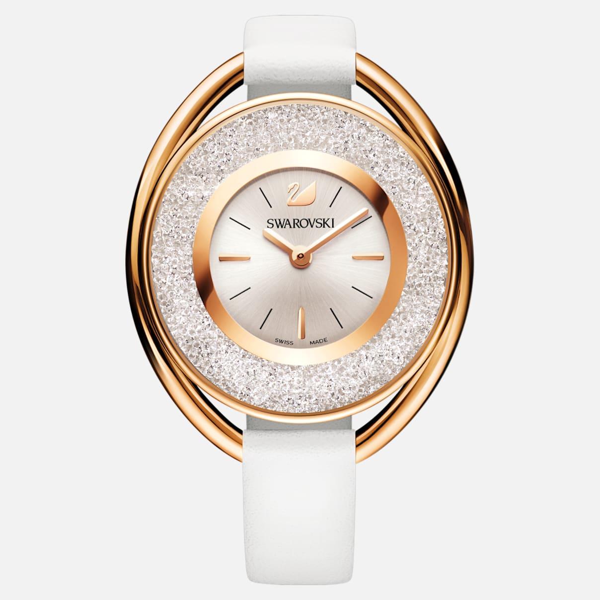 Crystalline Oval Uhr, Lederarmband, weiss, Rosé vergoldetes PVD-Finish