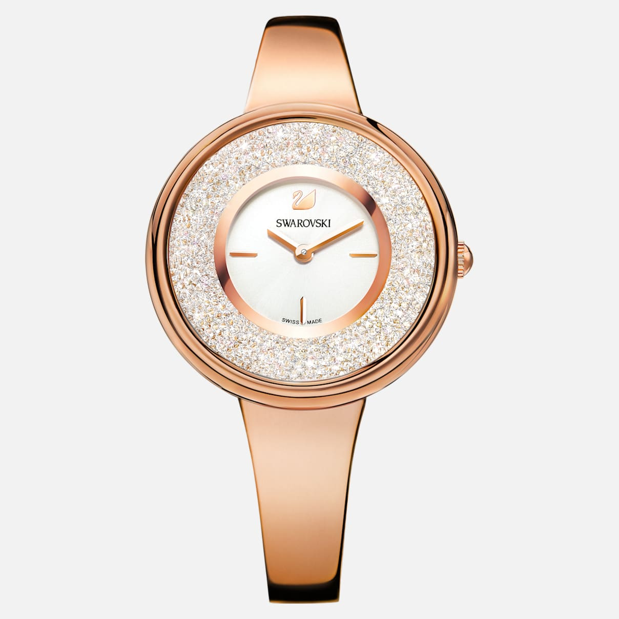 Crystalline Pure Uhr, Metallarmband, weiss, Rosé vergoldetes PVD-Finish