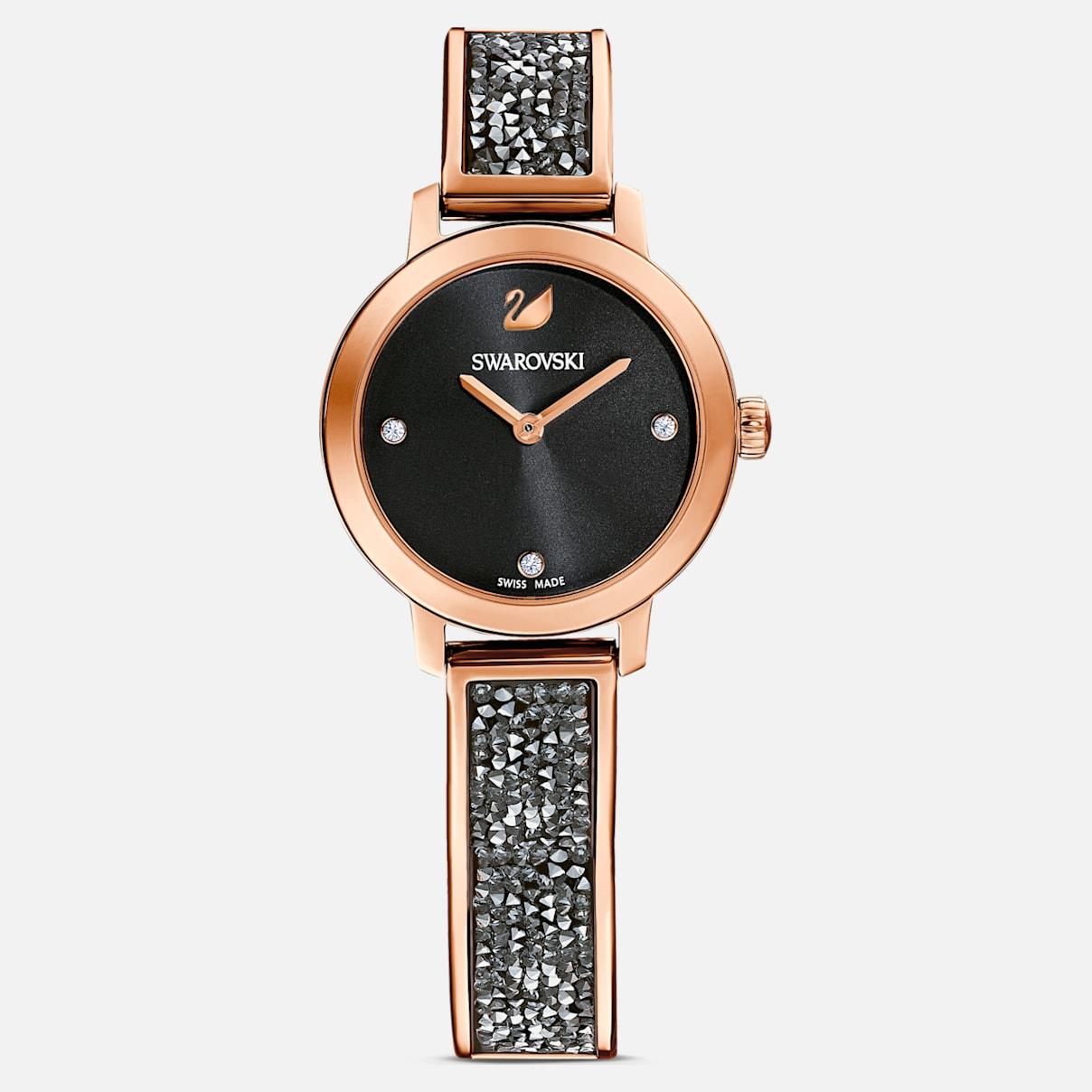 Cosmic Rock Uhr, Metallarmband, schwarz, Rosé vergoldetes PVD-Finish