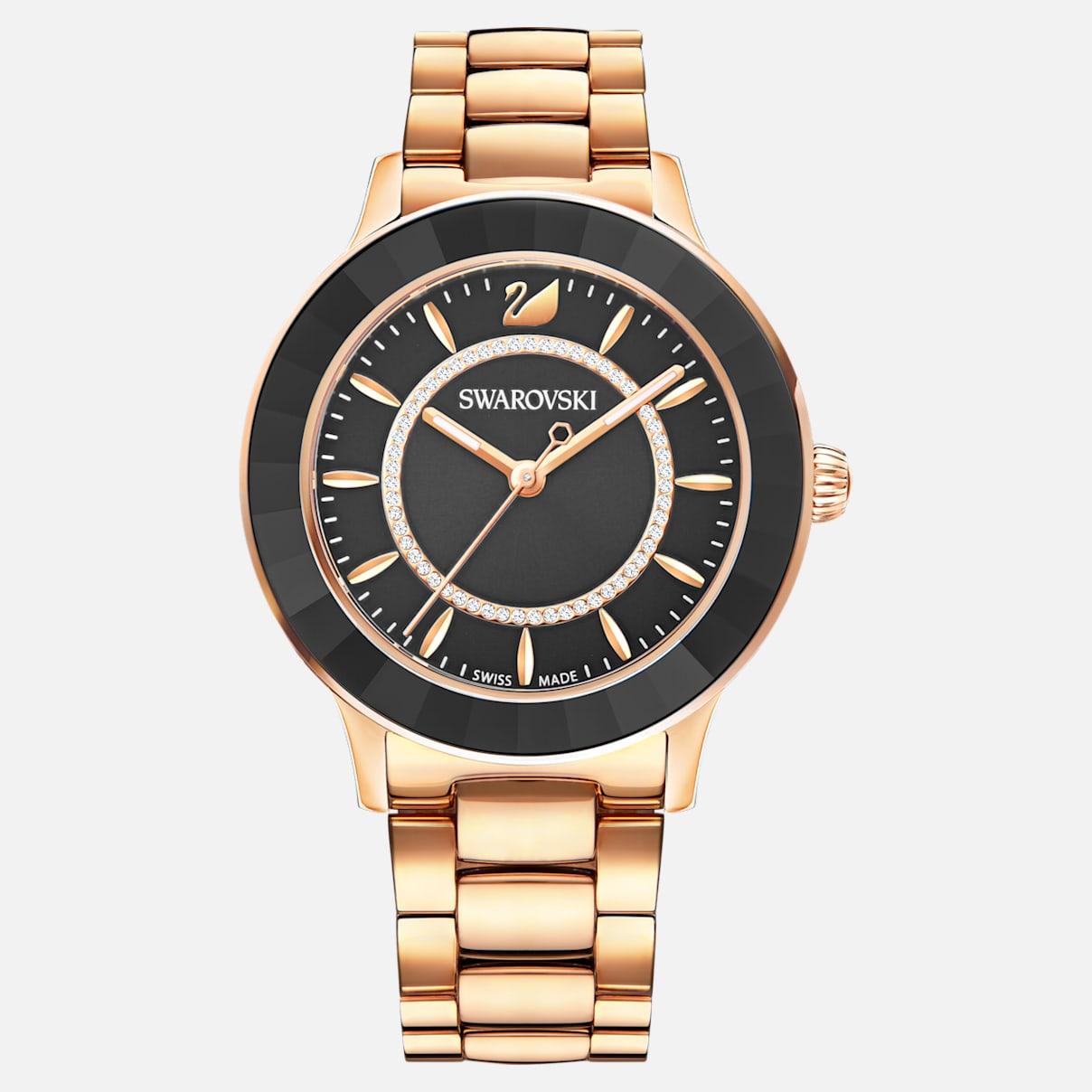 Octea Lux Uhr, Metallarmband, schwarz, Rosé vergoldetes PVD-Finish