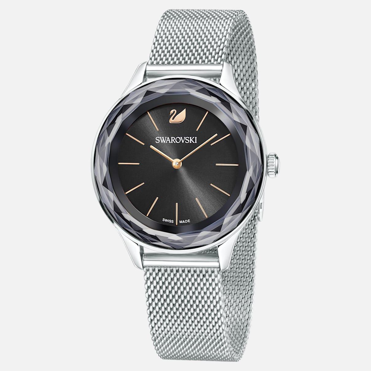 Octea Nova Uhr, Milanaise-Armband, schwarz, Edelstahl