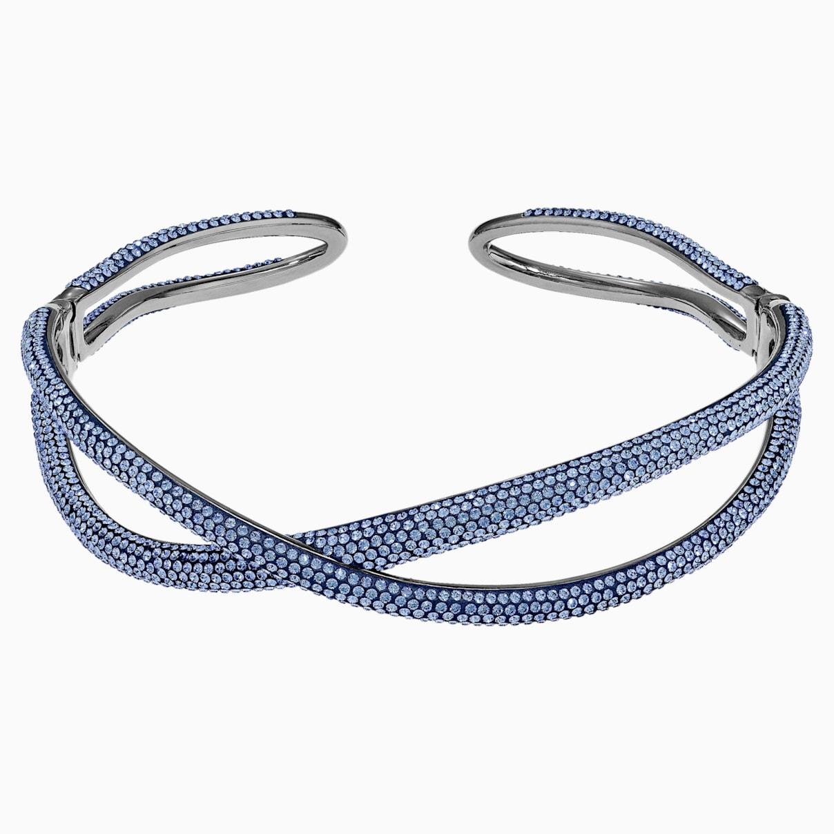 Ras-de-cou Tigris, bleu, métal plaqué ruthénium