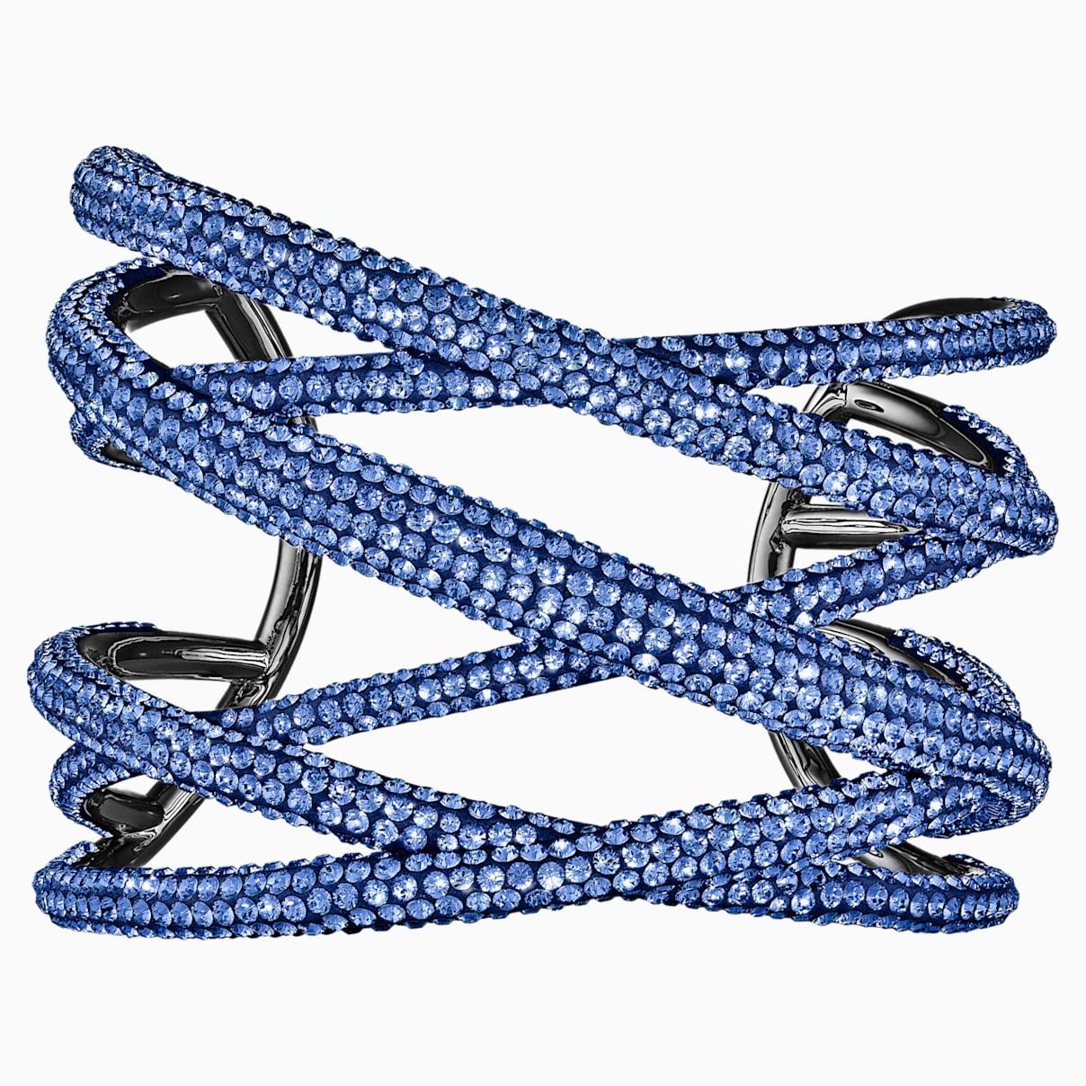 Manchette Tigris, large, bleu, métal plaqué ruthénium