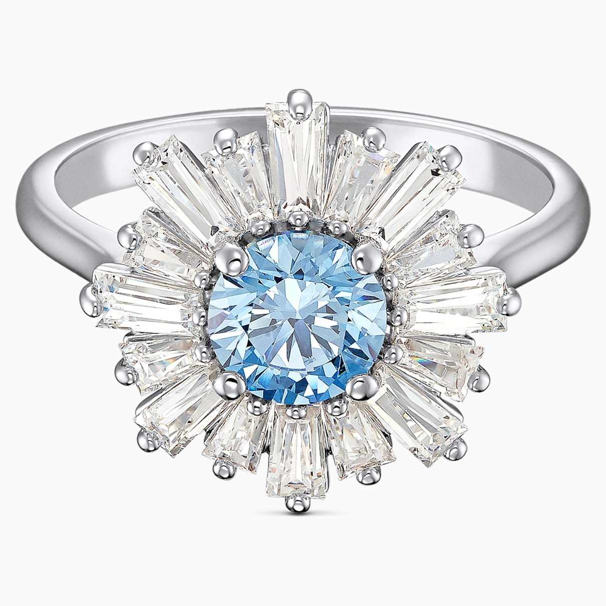 Anello Sunshine, azzurro, placcato rodio