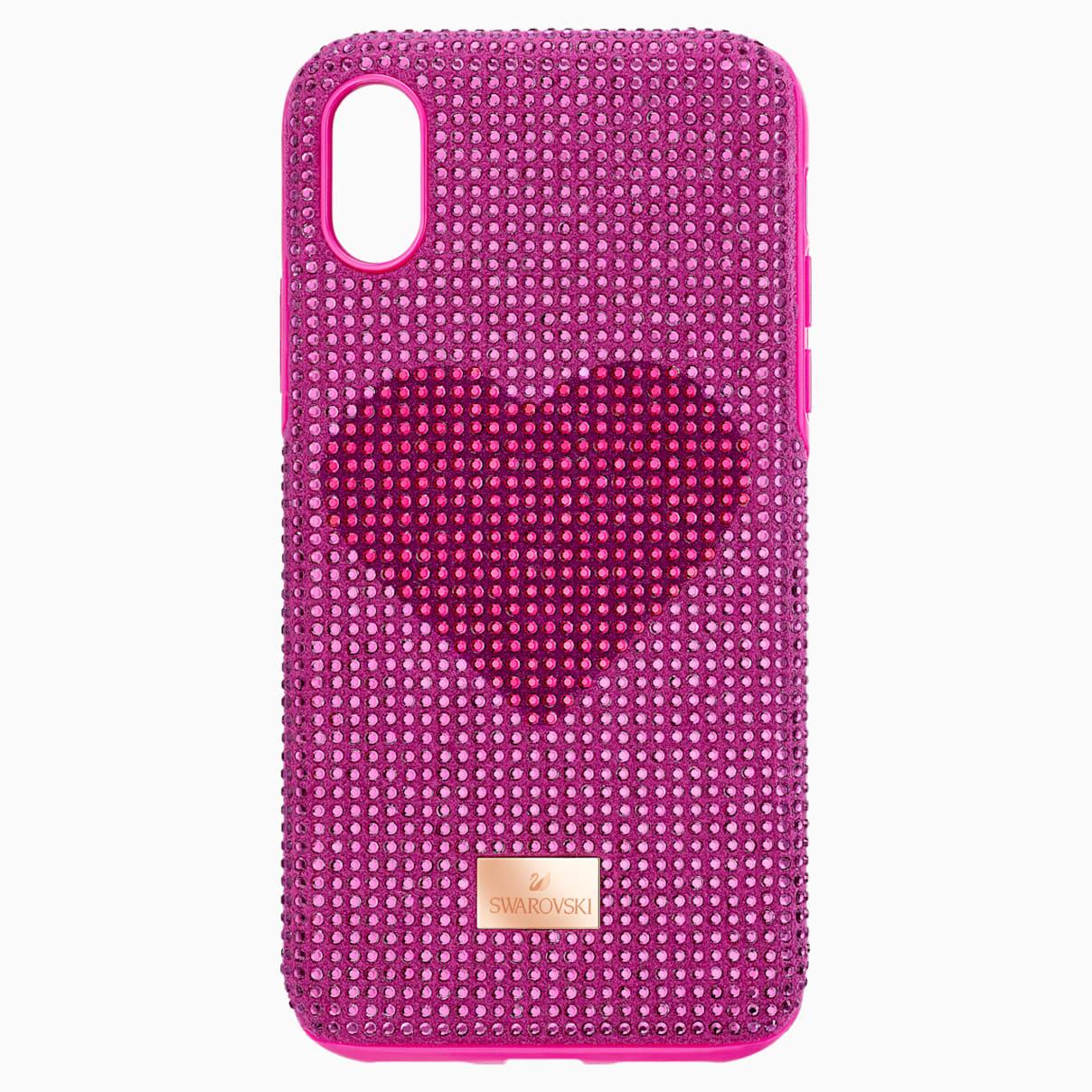 Custodia per smartphone con bordi protettivi Crystalgram Heart, iPhone® XS Max, rosa