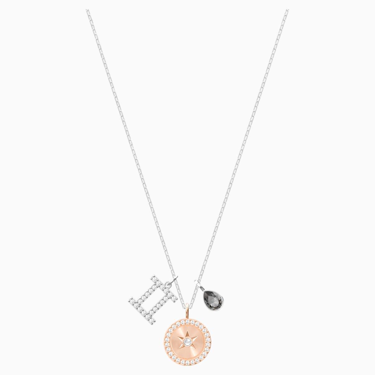 Pendentif zodiac gémeaux gris métal rhodié