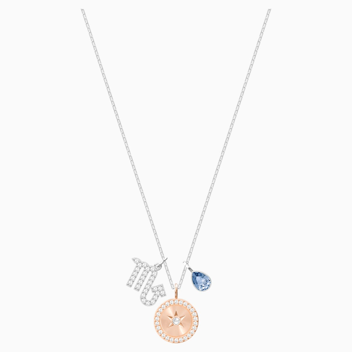 Pendentif zodiac scorpion bleu métal rhodié