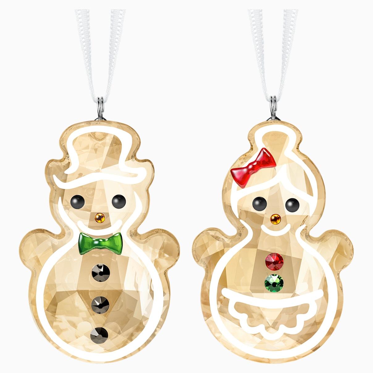 Décoration couple de bonhommes de neige pain d'Épices