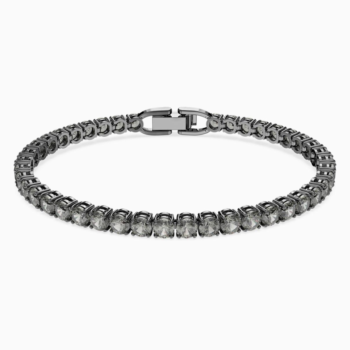Bracelet tennis deluxe noir métal plaqué ruthénium