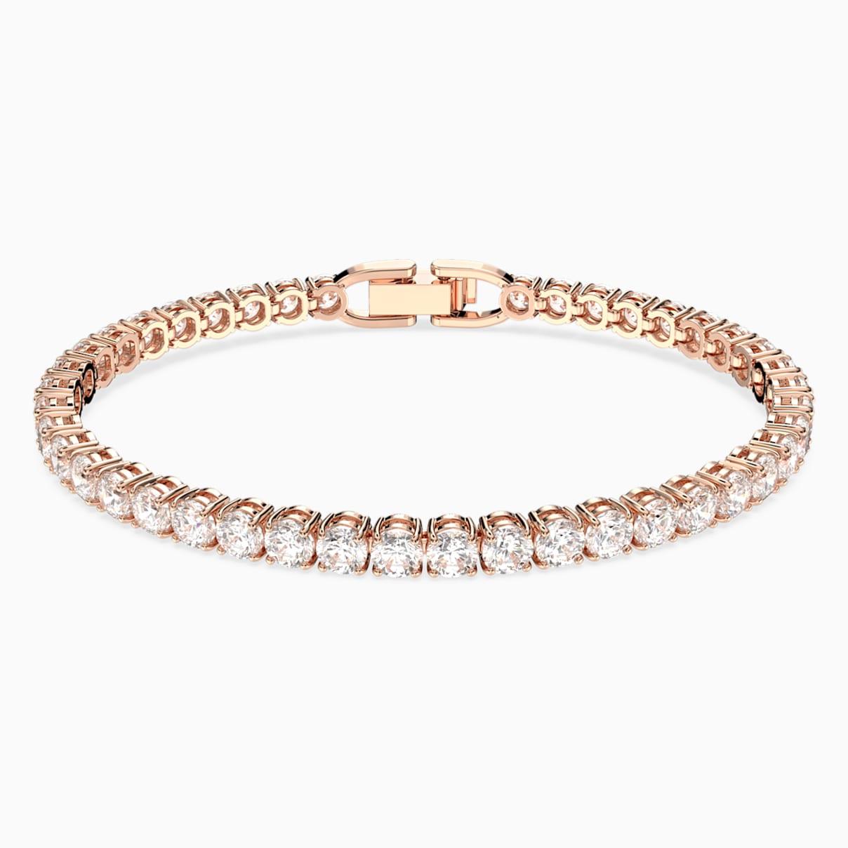 Bracelet tennis deluxe blanc métal doré rose