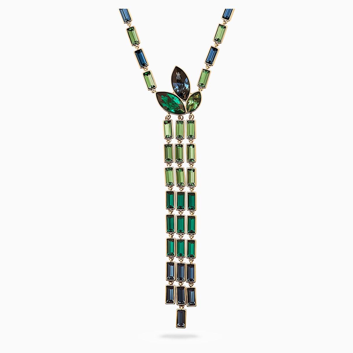 Bamboo Y-Halskette, mehrfarbig dunkel, vergoldet