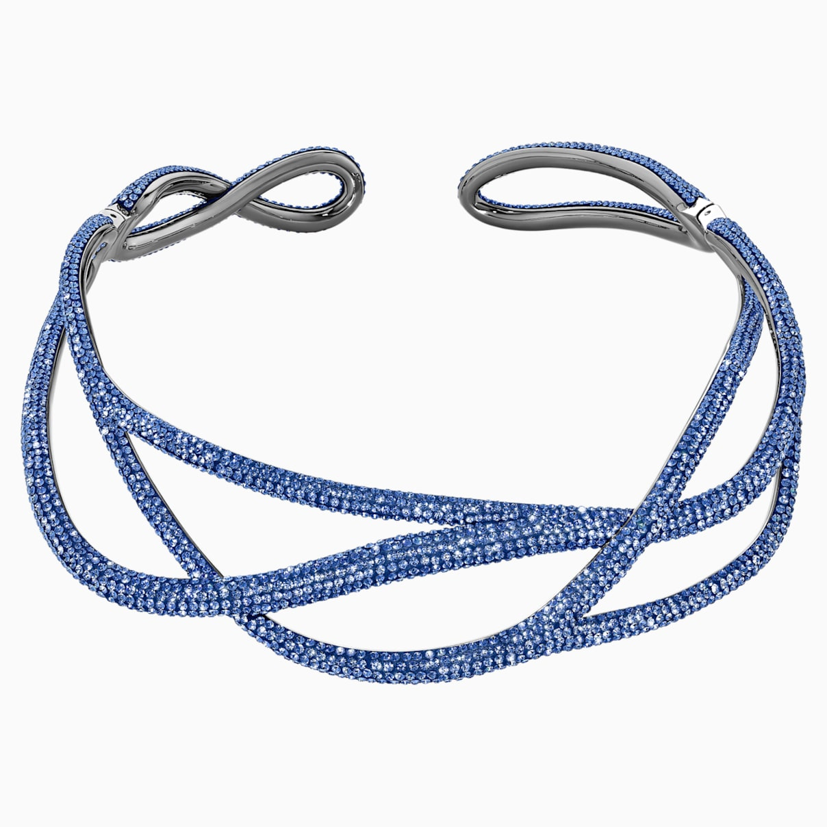 Ras-de-cou Tigris Statement, bleu, métal plaqué ruthénium