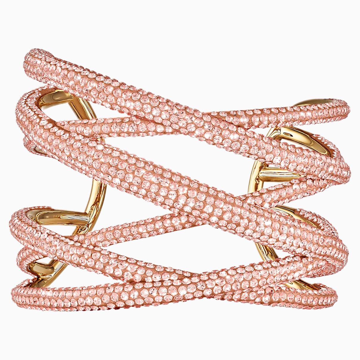 Tigris Armreif, groß, rosa, vergoldet