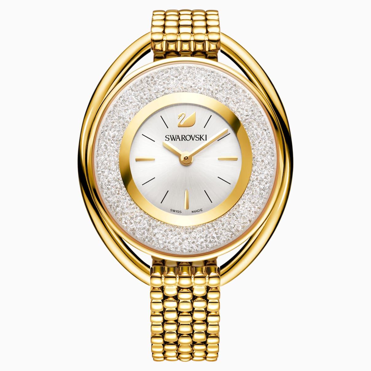 Crystalline Oval Uhr, Metallarmband, weiss, Vergoldetes PVD-Finish