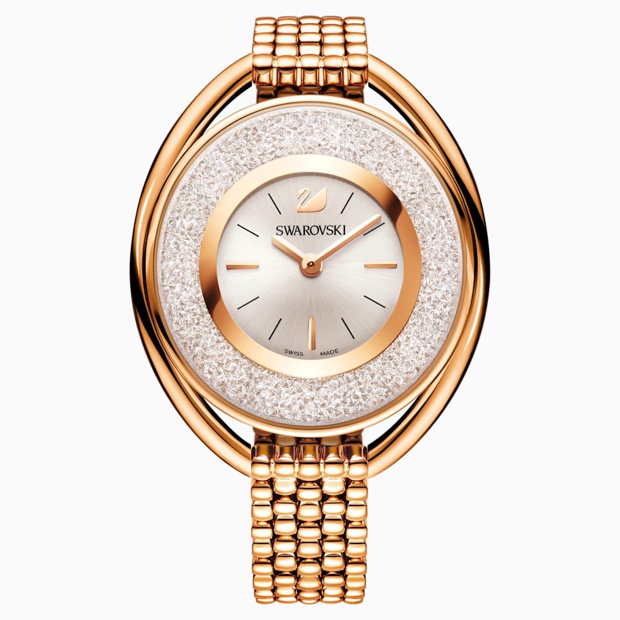 Crystalline Oval Uhr, Metallarmband, weiss, Rosé vergoldetes PVD-Finish