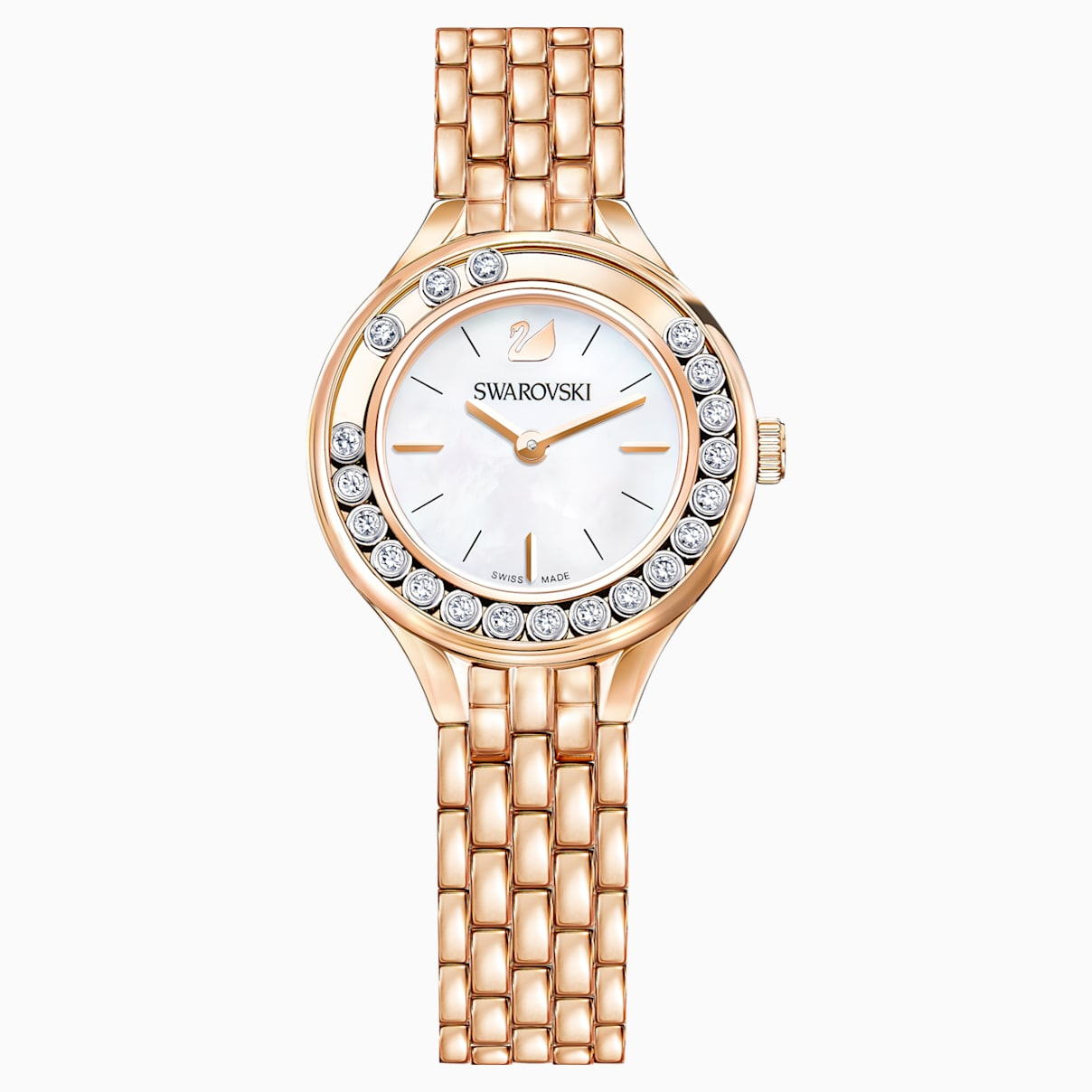 Lovely Crystals Uhr, Metallarmband, Rosé vergoldetes PVD-Finish