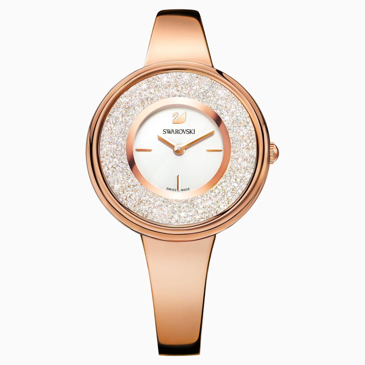 Crystalline Pure Uhr, Metallarmband, weiss, Rosé vergoldetes PVD-Finish