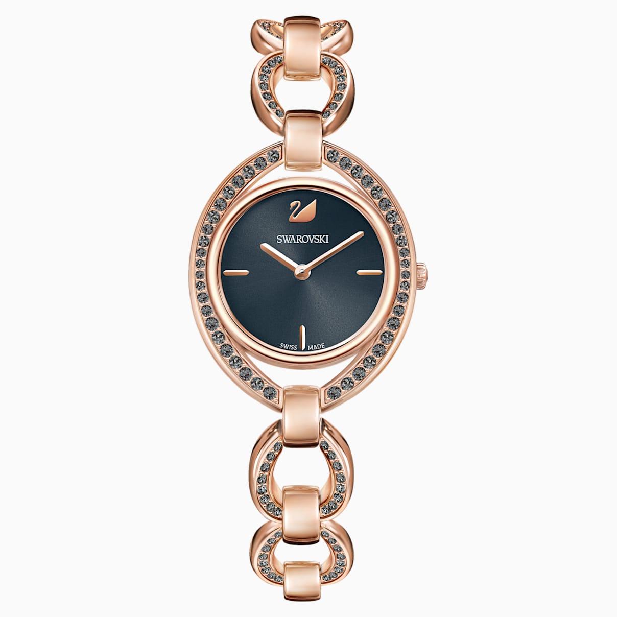 Stella Uhr, Metallarmband, dunkelgrau, Rosé vergoldetes PVD-Finish