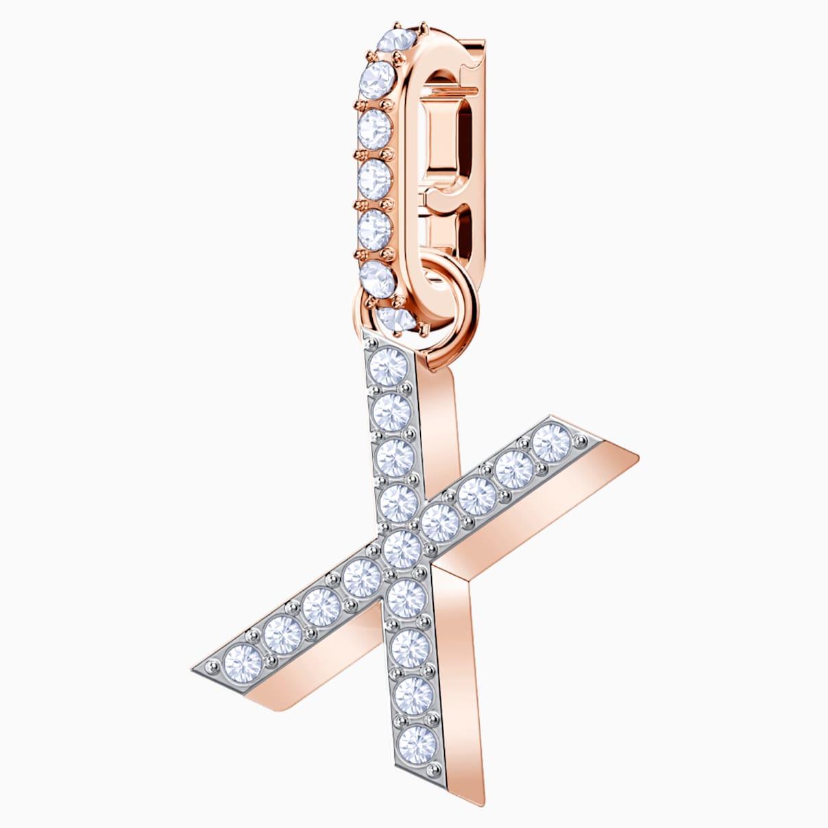 Swarovski Remix Collection Charm X, bianco, Placcato oro rosa