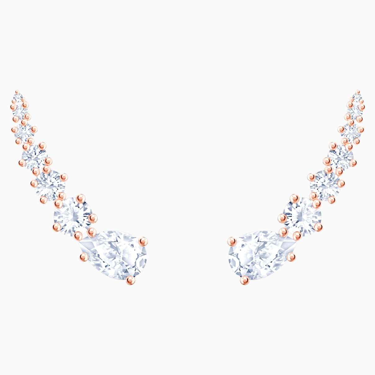 Boucles d'oreilles Penélope Cruz Moonsun, blanc, Métal doré rose