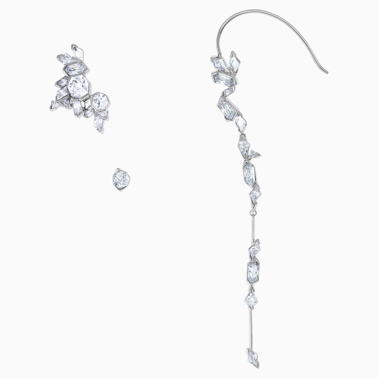 Boucle d'Oreille Manchette Ice Crack, blanc, Métal plaqué ruthénium