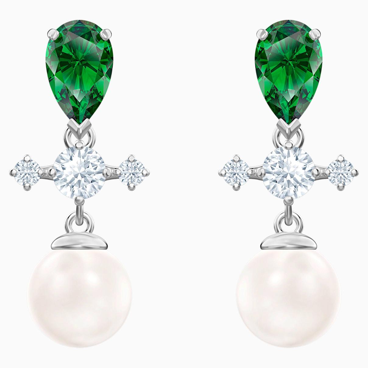 Boucles d?oreilles drop Perfection, vert, Métal rhodié